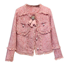 Boho Inspired Pink Tweed jacket with fringe 2019 new high fashion jacket blazer women ladies tweed coat with bow chic outwear fringe trim tweed blouse