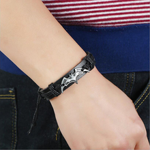 2019 Hot Bracelet Vintage Batman Leather For Men / Women Handmade Chain Beads Charm Jewelry Accessories