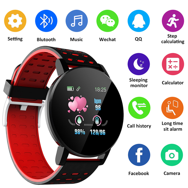 2021 1.44 Inch Smartwatch Men Full Touch Multi-Sport Mode with Smart Watch Women Heart Rate Sleep Monitor for IOS Android 119S 1