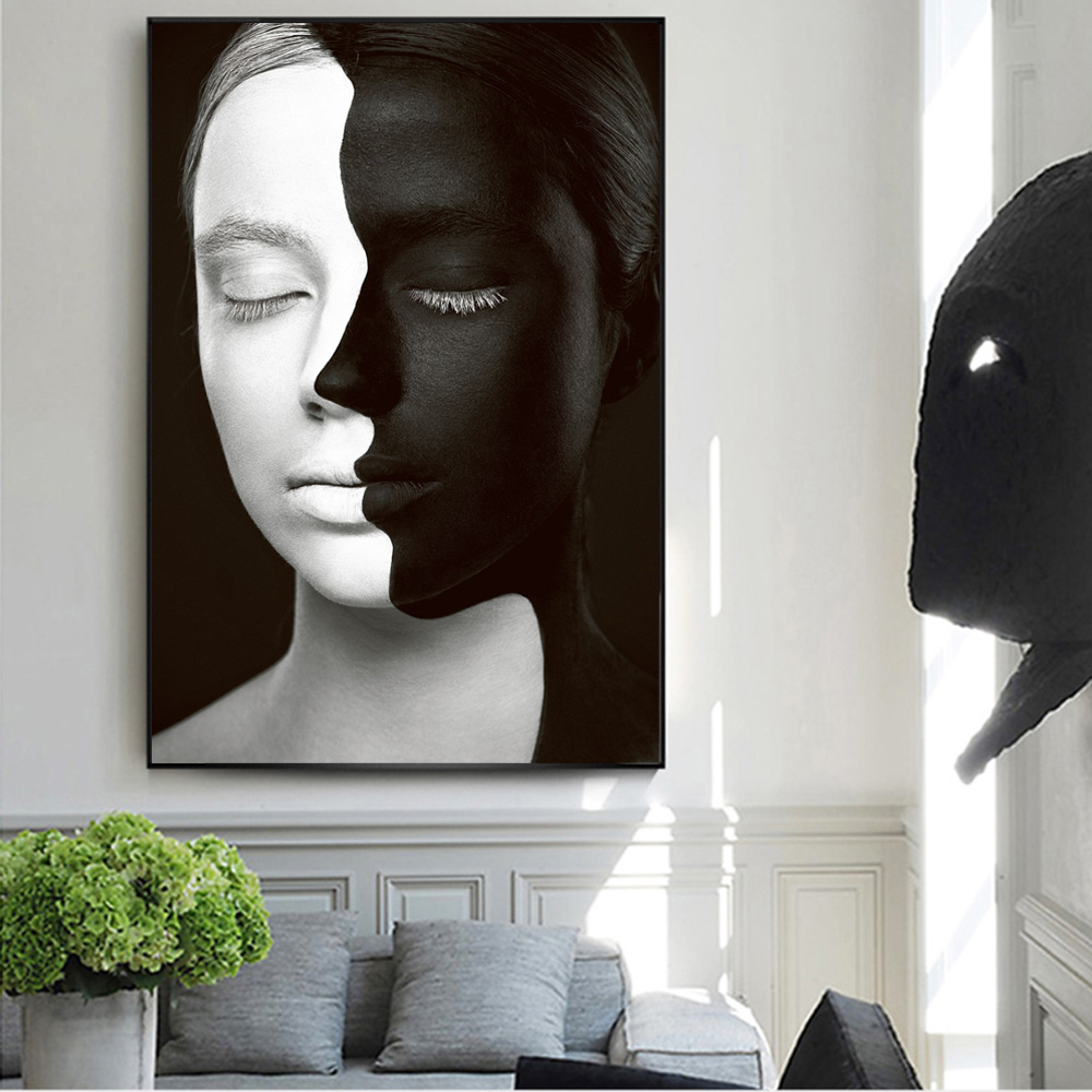 Abstract Girl Art Prints Black White Girl Model Wall Art Canvas Painting Poster And Prints Fashion Modern Pictures Home Decor