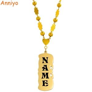 Anniyo Personalized Name Beads Necklace Women Girls Marshall Jewelry Micronesia Customize Letters Nameplate Hawaiia #069121