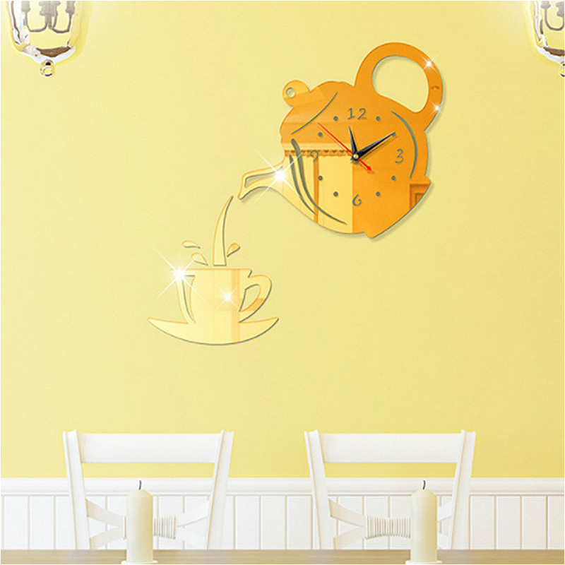 DIY Creative 3D Wall Clock Acrylic Decorative Kitchen Wall Clocks