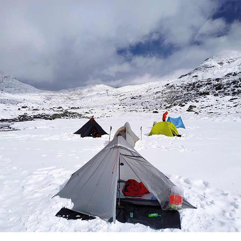 3f ul engrenagem lanshan 1 pro 1 pessoa ao ar livre ultraleve barraca de acampamento 3 temporada profissional 20d náilon ambos os lados silicone tenda