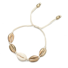 Pulseira Masculina Cross-border Ornaments Personality National Wind Metal Shells Hand-woven Adjustable Bracelet With Female