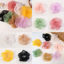 Candy Color Oversize Transparent Organza Hair Scrunchies Hair Rope Ponytail Hair Accessories For Women Girls Ties Gum Headwear