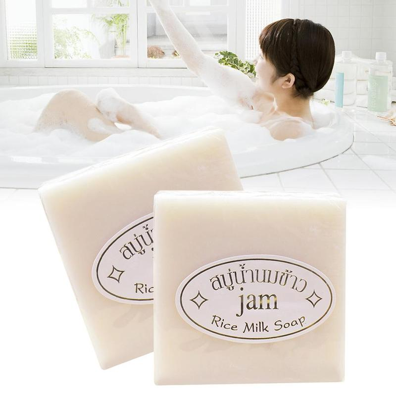 Thailand Jasmine Rice Hand Soap  Vitamin Handmade Collagen Rice Milk Soap Bleaching Agents Acne Soap Skin Whitening Bathing Tool