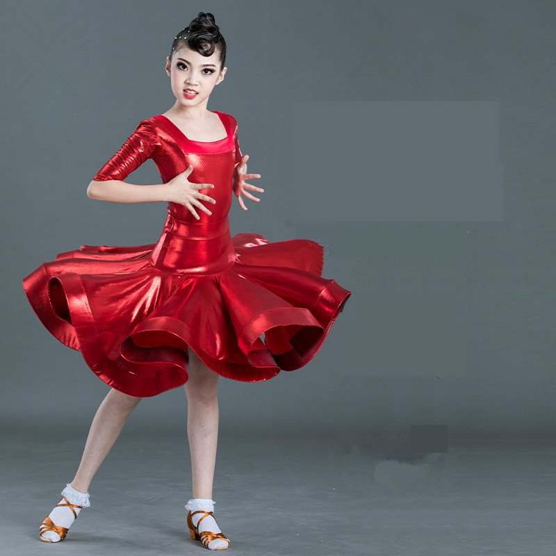 Kids Latin Dress Girls Dance Wear Latin Competition Costumes Child Dancing Dress Wear Clothes For Girls Dance Costumes Red