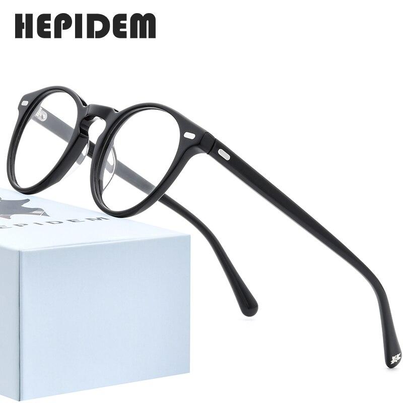 HEPIDEM Acetate Optical Glasses Frame Men Retro Vintage Round Prescription Eyeglasses Nerd Women Spectacles Myopia Eyewear 9108