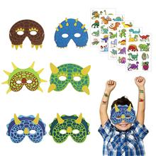 METABLE 18 Pcs Dinosaur Foam Masks Childrens Animal Face with 40 Temporary Tattoos for Kids Birthday Party