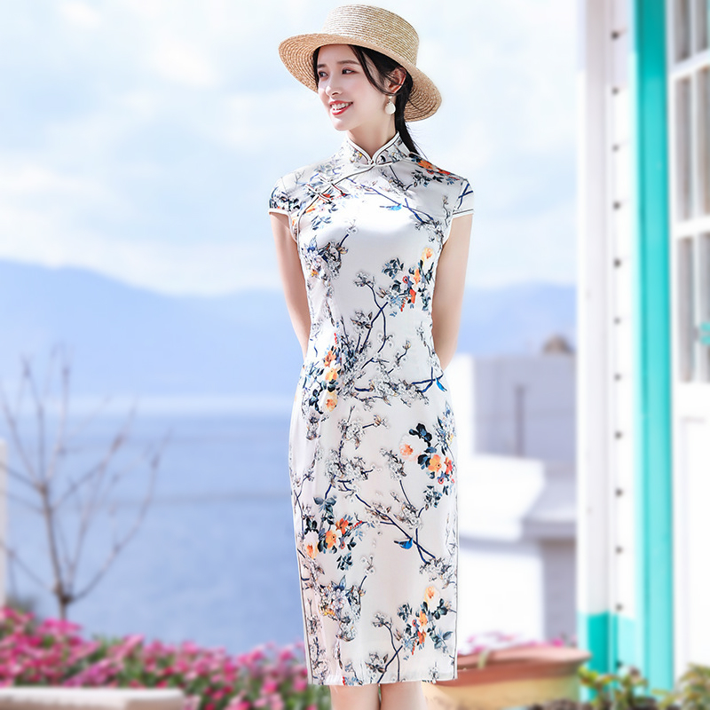 Sheng Coco Elegant Oriental Dresses Modern Chinese Cheongsam Qipao Women Flowers Bird White Party Chinese Dress
