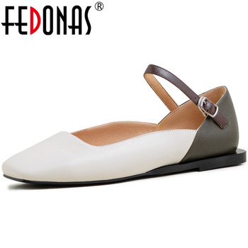 FEDONAS 2020 Genuine Leather Lace Up Women Slippers Buckle Thick Heels Square Toe Pumps New Arrival Summer Sandals Shoes Woman