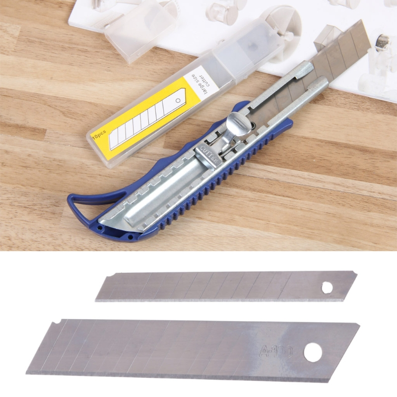 10Pcs Office Stationery 9mm / 18mm Cutter Blade With Art Student Supplies Silver Utility Knife Sharp And Durable Blade Cutter