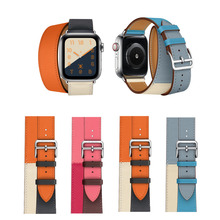 Double Tour Leather Strap For Apple Watch Series 5 4 Band 40mm 44mm Correa Iwatch Series 3 2 1 42mm 38mm Wrist Watchband Belt цена