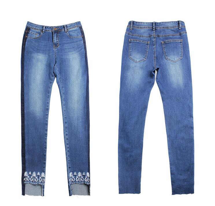 CatonATOZ 2138 kobiet boczne paski push up jeans dla kobiet haft rozciągliwy nierówny brzeg skinny spodnie jeansowe dla kobiet