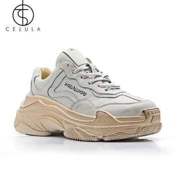 Cetula Women Sneakers Shoes Lace-up Urban Waxed Full Grain Leather Atheletic Women Shoes ft.Silver&Black Tones Oversize Outsole keerygo women s shoes inside and outside the full leather lace leather shoes comfortable feet big shoes