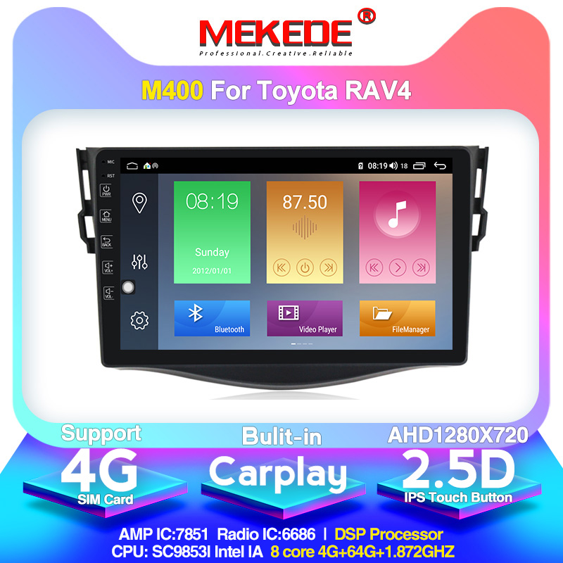 MEKEDE Android10.0 2.5D 2Din 車トヨタ RAV4 2007 2008 2009 2010 2011 Autoradio RDS GPS wifi カセット image