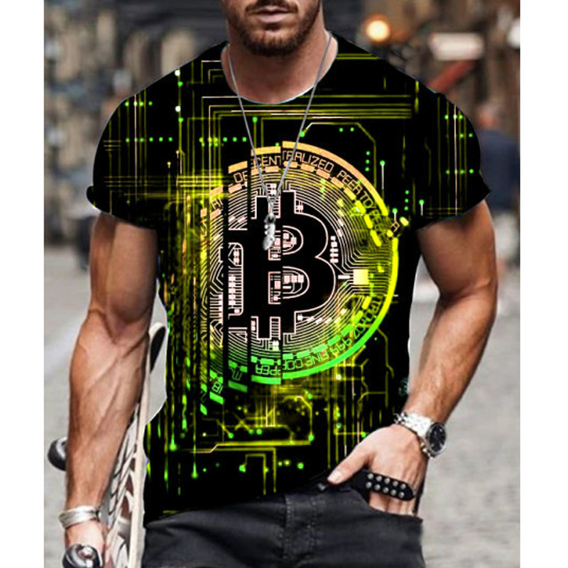2021 Summer New Men Short-Sleeved Loose T-Shirt Bitcoin 3d Printing Slim Round Neck Pullover Male Casual Streetwear 1