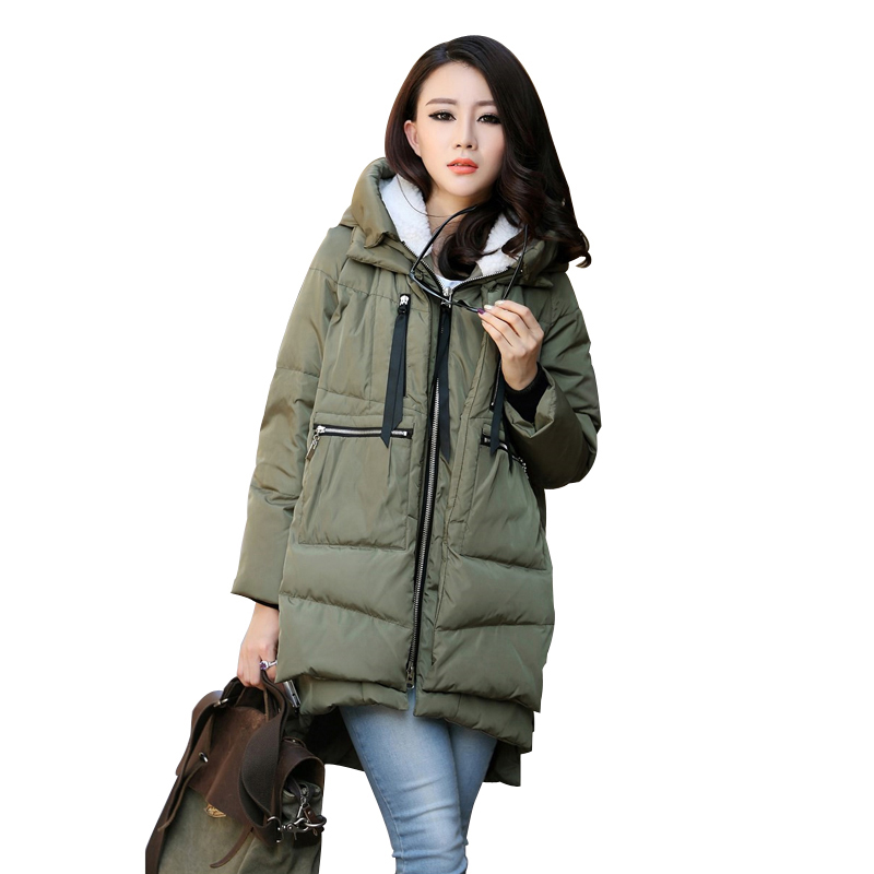 Maternity Winter Coat Military Long Loose Hooded Fashion Thicken Down Jacket Coat For Pregnancy Clothes Outerwear Plus Size 5XL