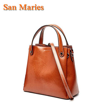San Maries Casual Tote Bag Oil Wax Cow Leather Luxury Women Designer Handbags High Quality ladies Crossbody Hand Bags For Girls