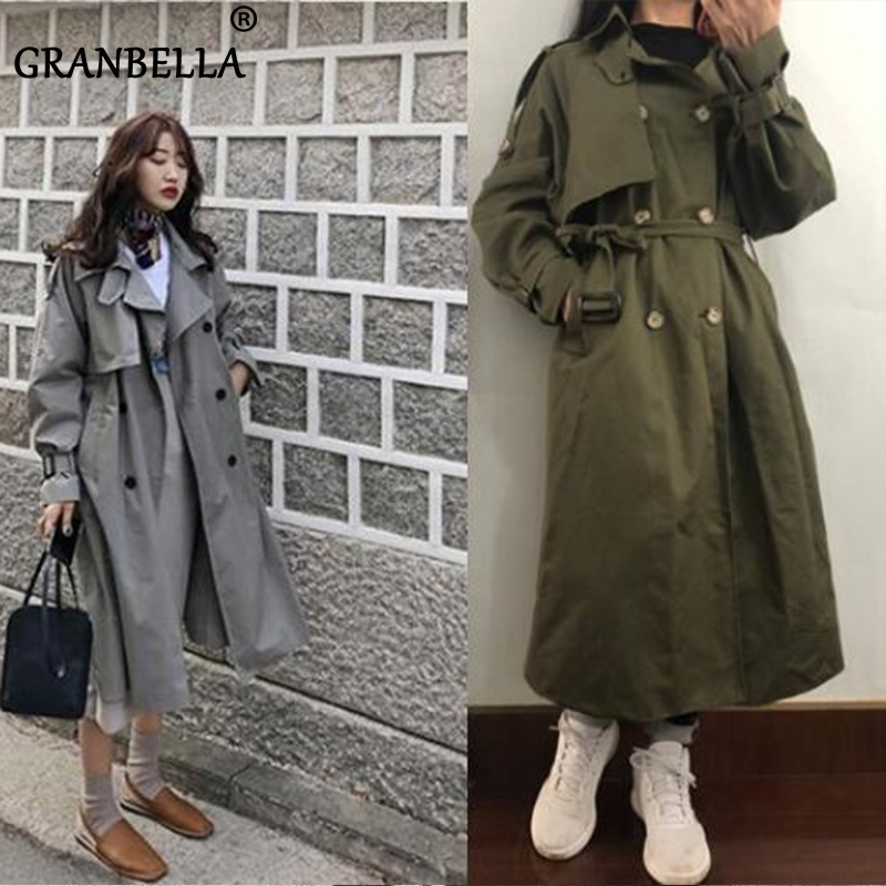 5 Colors spring casual loose cotton trench coat with sashes oversize double breasted vintage cloak overcoats windbreaker(China)