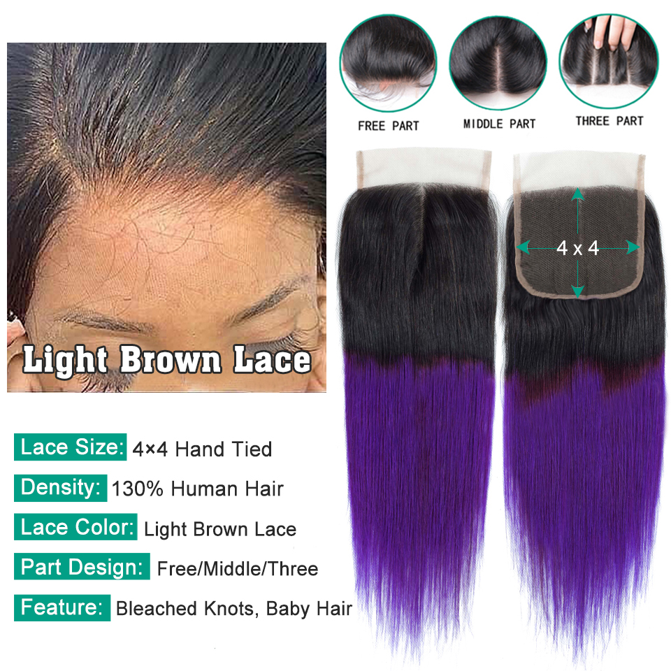 SEXAY Purple Brazilian Hair Weave Bundles Pre Colored Two Tone Straight Hair Extensions Ombre Human Hair Bundles With Closure (1)