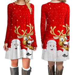 Fashion Christmas Dress Women Winter Dresses Women 2019 Winter New Christmas Print Mini Dress Long Sleeve O-neck Women Clothes 4