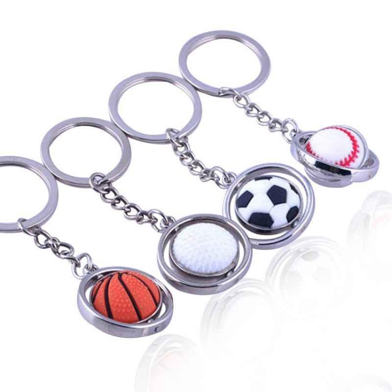 المفاتيح كرة القدم/البيسبول/كرة السلة/كرة جولف شكل للتدوير قلادة حديدية مفتاح سلسلة حلقة الديكور