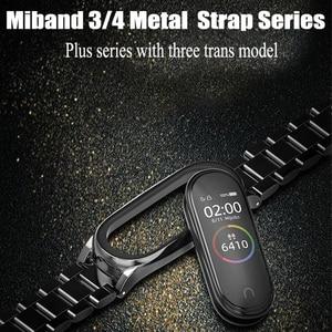Image 5 - BOORUI  Stainless Steel mi band 3 4 5 strap metal replacement for xiaomi mi band 3 4 strap pulseira mi band 4 metal wrist strap