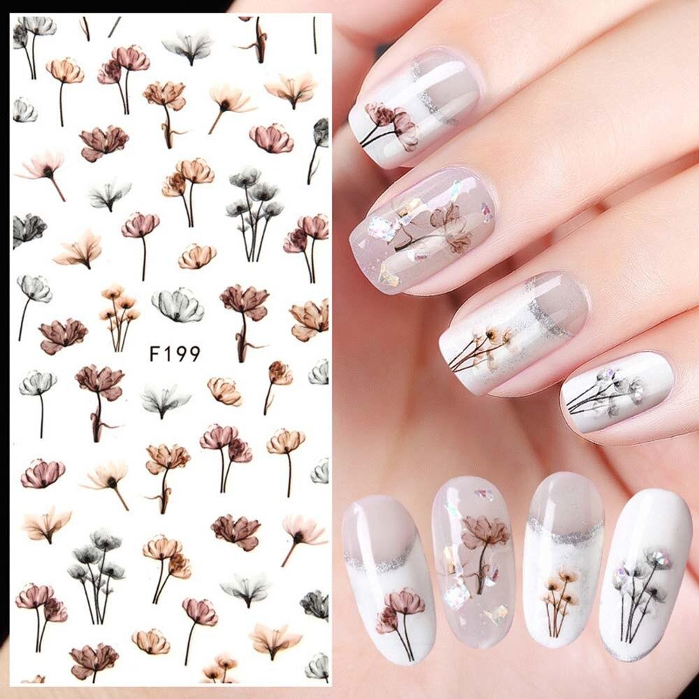 1 шт., цветок дандери, стикеры 3D на ногти Nail Art, клейкие наклейки для воды, переводные наклейки для ногтей, декор для маникюра