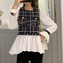 Patchwork Plaid Blouses And Tops Korean Japanese Women