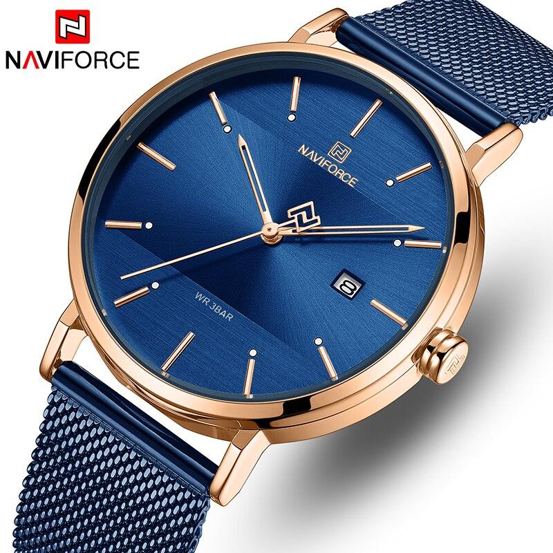 NAVIFORCE Watch Top Brand Men Simple Quartz Watches Mens Fashion Blue Stainless Steel Waterproof Wrist Watch Relogio Masculino