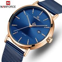 NAVIFORCE zegarek Top marka mężczyźni proste zegarki kwarcowe męskie modne niebieskie ze stali nierdzewnej wodoodporny zegarek na rękę Relogio Masculino