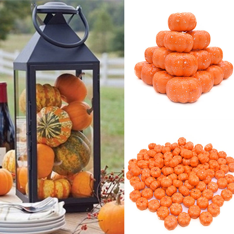 25Pcs Mini Artificial Pumpkin Fake Simulation Vegetabl Happy Halloween Decoration For Home Halloween Props DIY Crafts