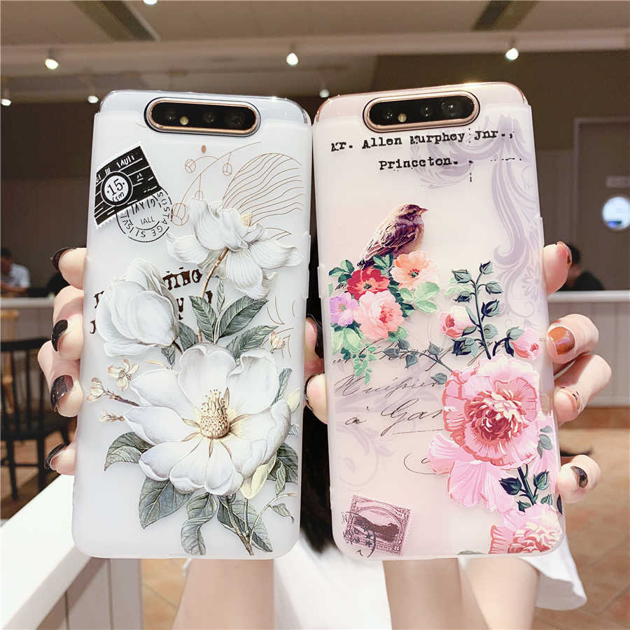 3D Matte Emboss Flowers Phone Case for Samsung Galaxy Note10 S10 S9 S8 Plus A9 A90 A80 A70 A60 A50 A40 A20 A30 A10 J8 J7 Cover