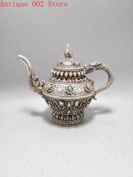 White copper plated silver dragon wine pot, exquisite workmanship