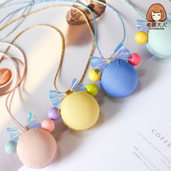 His Wife Bear Mickey Shape Bright Skin Jelly Color Bow CHILDREN'S Necklace Skin Not Allergy Sweater Chain