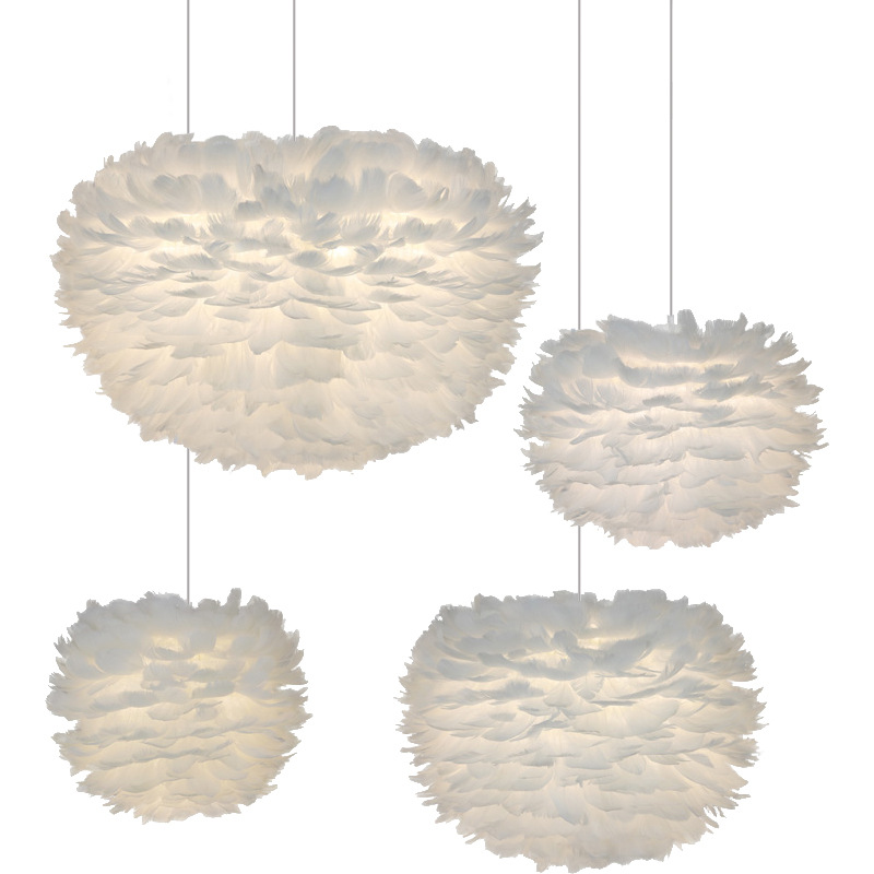 Feather Lamp Chandelier Wedding Bedroom Decorative Lamps Led Light Bed Room Living Room Hotel Rooms Cozy Romantic E27 Living