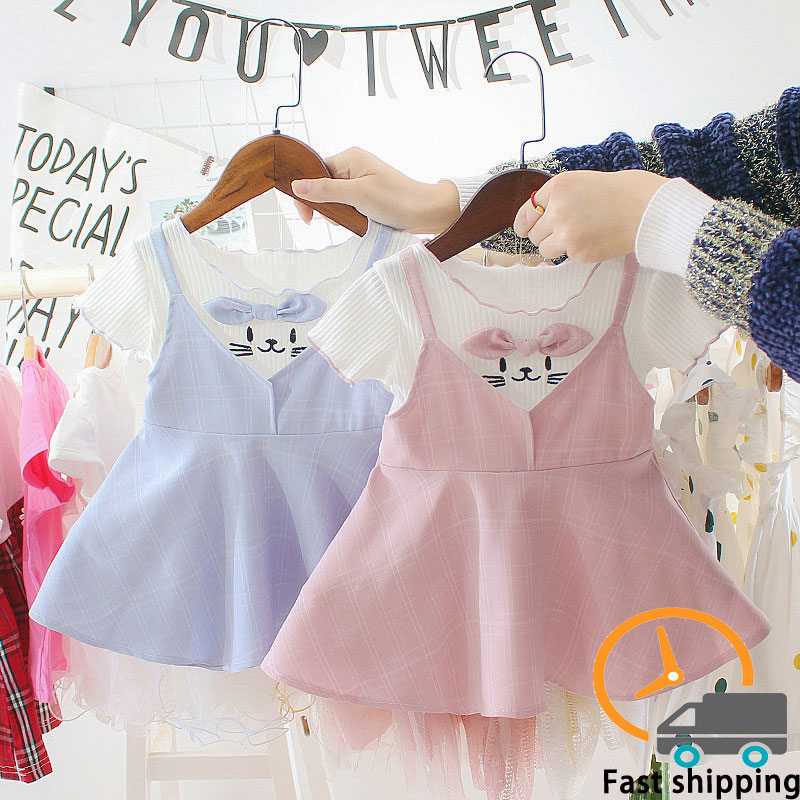 Girl Cartoon Cat Princess Dress With Bow Summer Baby Kid Cute Strap Pleated Sundress Children's Cotton Clothes Dresses For Girls