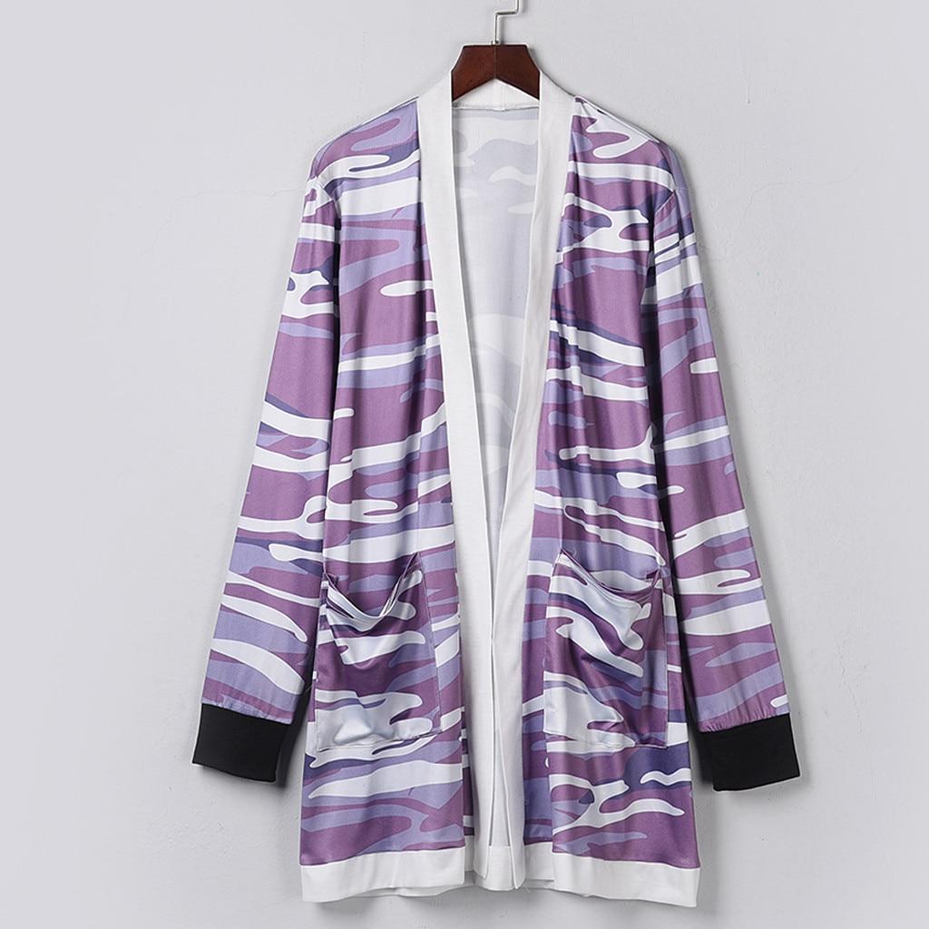 Cardigan Purple Outwear Female Fashion Coat Women Long Coat Print Long Sleeve Pocket Coats Manteau Femme#G30