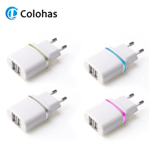 Dual Ports USB with LED Light EU Plug Travel Home Power to Wall Charger Adaptor for iPhone 4S 5 5S 6 6S 7 Plus Sony GPS Samsung