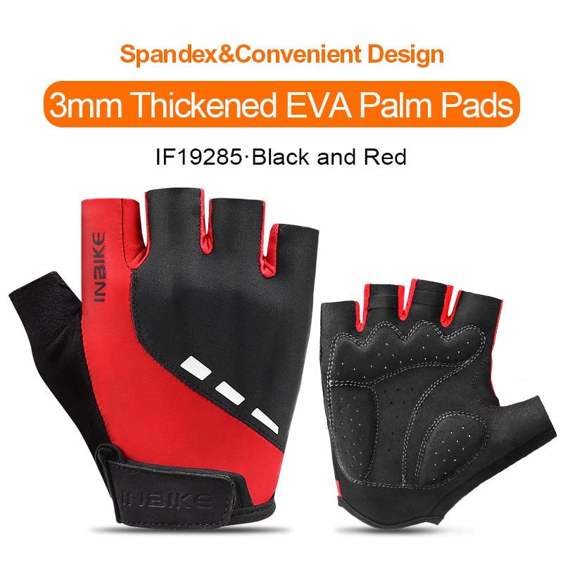 IF19285-Red-INBIKE Summer Men Women Half Finger Shockproof Cycling Gloves