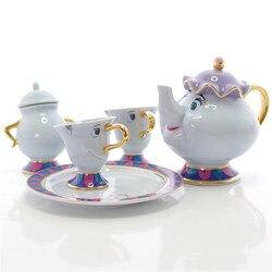 Disney Beauty Beast мультяшный набор стаканчиков для воды, кофе, чай, молоко, керамический комплект кастрюль, домашняя офисная коллекция, чайник, под...