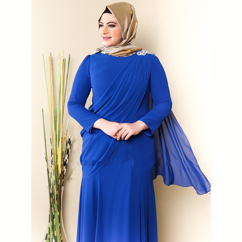 Advondjunk Robe De Soiree Muslim Blue High Neck Full Length Arabic Hijab Long Evening Hijab Muslim Mother Of The Bride Dresses