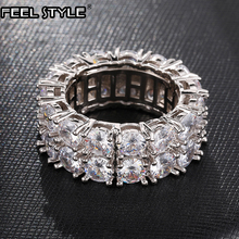 2 Row Classic CZ Solitaire Ring Gold/Gold Color Iced Out Zircon Charm Round Ring For Men Women HIP Hop Jewelry Size 8-11