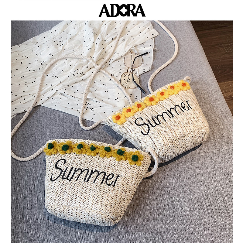 ADORA Straw Bag Summer Vacation Beach Messenger  Crossbody Bags for Women Shoulder Bucket Designer
