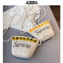 ADORA Straw Bag Summer Vacation Beach Bag Messenger Bag  Crossbody Bags for Women Shoulder Bag Bucket Women Bag Designer Bucket straw cotton rope beach bag summer crossbody bags for women 2019 handmade brand shoulder messenger shopping bag women bag