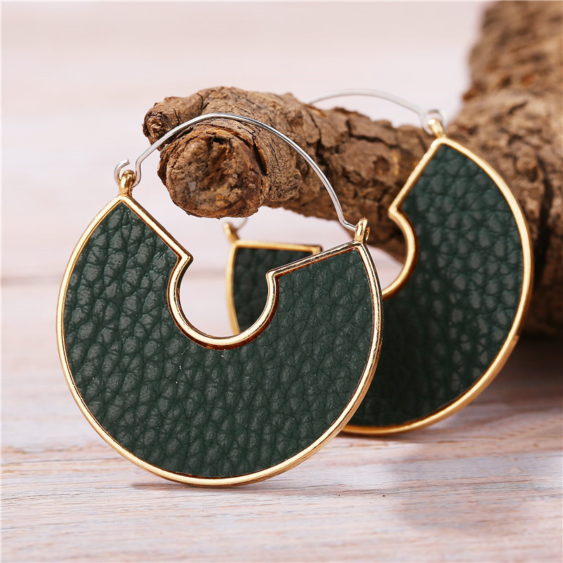 H77497e4ad4754d0aad2b59e47b332addS - IF ME Fashion Leather Circle Hoop Earrings Big Round Korean Earring Alloy Metal Red Colorful Brincos 2020 New Jewelry Gift