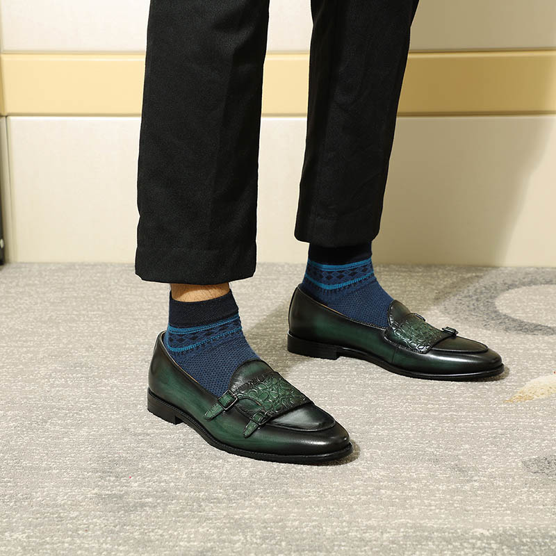 Image 5 - FELIX CHU Luxurious Mens Double Monk Strap Loafers Genuine  Leather Brown Green Mens Casual Dress Shoes Slip On Wedding Men  ShoeMens Casual Shoes
