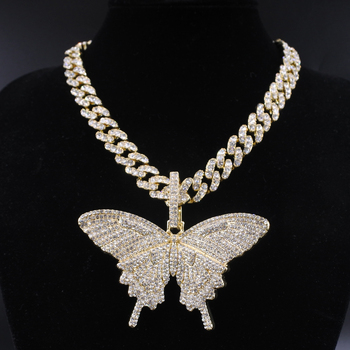 цена на Big size Butterfly pendant charm 12mm bubble miami curb cuban chain hip hop necklace rapper gift rock men women jewelry golden