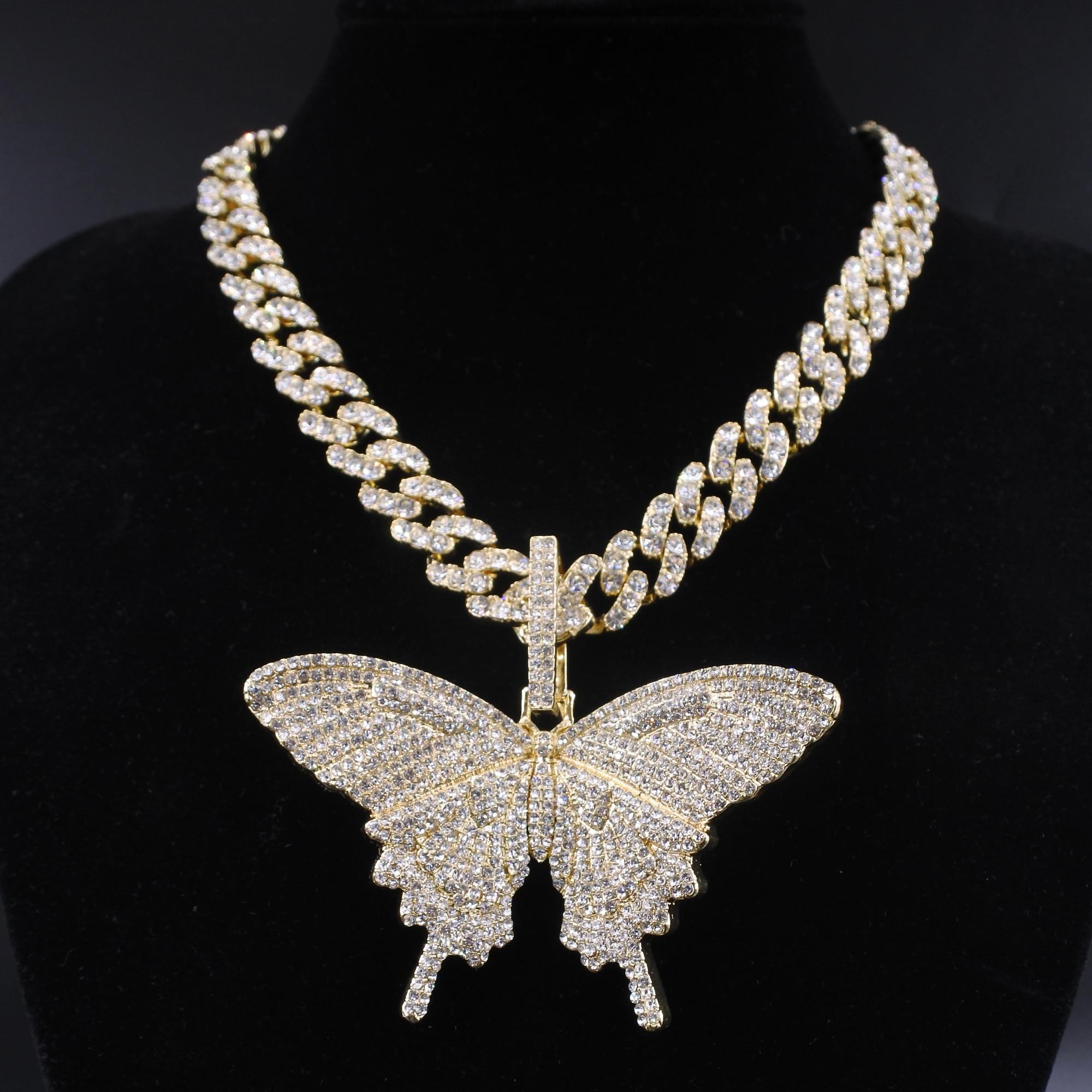 Colgante de mariposa de gran tamaño con abalorio de 12mm, collar de hip hop con cadena cubana de burbujas de miami, regalo de rapero, joyería dorada para hombre y mujer